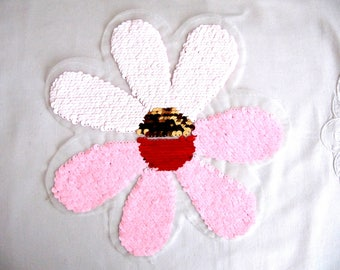 Bobbio Double Sided Patch,Change Color Applique,Daisy Patch,Pink Daisy Applique,Sequin Daisy,Large Daisy Patch,Sew On Daisy,Floral Applique,