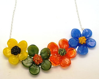 Pearly Colorful Flower Necklace - Lampwork Jewelry - Lampwork Necklace - Glass Bead Jewelry - Glass Bead Necklace, jewelry supplies