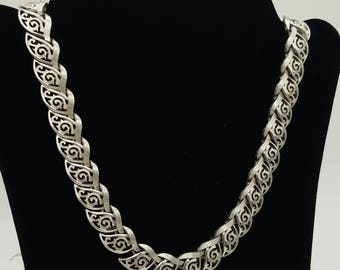 "Vintage Crown Trifari Brushed Silver Tone Swirled Cut-Out Leaf Choker - 14.5 to 15.5"" Adjustable"