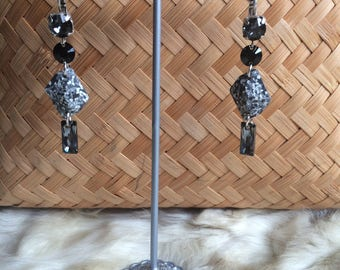 """Geometric earrings couture gray Crystal swarovski and brass """"Chic Christmas"""""""