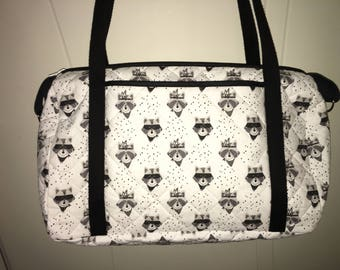Quilted fabric pattern raccoon personalized diaper bag.