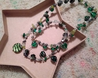 Heart's Desire Necklace and Bracelet Set with Green Glass Chip and Heart Beads, Upcycled