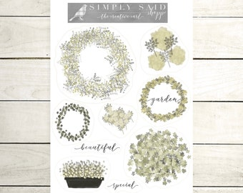 Green Grey Floral Bloom Stickers