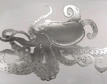 Octopus with brushed steel finish