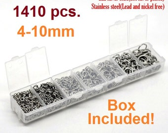 Box with Assortment of 1410pcs Stainless Steel Open Jump Rings- 4mm to 10mm