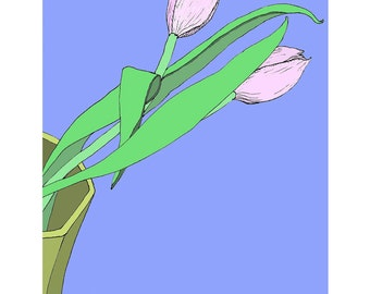 Tulips - giclee-printed greeting card from original drawing, blank inside