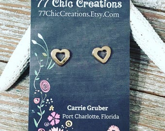 Gold plated heart studs. Nickel free posts.