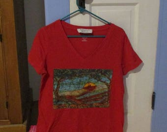 Field of Poppies Red V-Neck T
