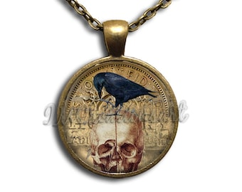 Black Raven Bird Gothic Skull Glass Dome Pendant or with Chain Link Necklace AN212
