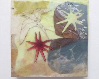 Handmade Sketchbook, altered journal, encaustic covered journal, blank journal, bird book, ocean theme