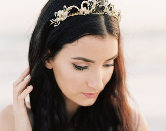 Bridal Crown. Bridal Tiara.  Gold & Black Bridal Hair Accessory {Freya}
