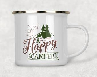 Happy Camper Mug, Camping Coffee Mug, Campfire Mug, Outdoorsy Gift, Enamel Coffee Mug, Happy Camper, Camping Gift Tent Camping, Backpacking
