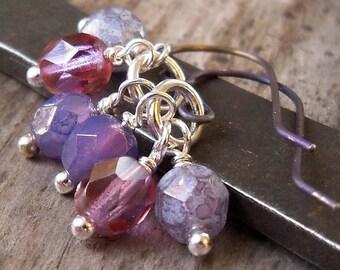 Short Purple Earrings - Titanium Earrings - Short Dangle Earrings - Dangle Earrings - Women's Earrings - Gift for Her - Bead Earrings
