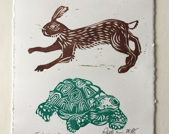 Tortoise and the Hare - linocut print in green and brown