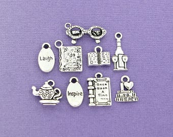 Book Club Charm Collection Antique Silver Tone 9 Different Charms - COL072
