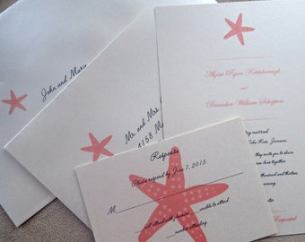 Starfish wedding invitation, Coral wedding invitation, beach invitation, destination wedding invitation, Island wedding invitation