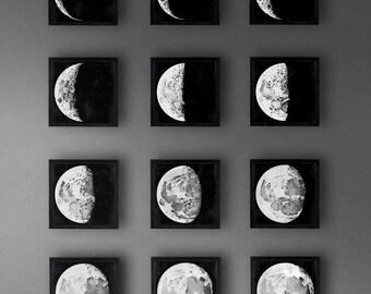 Framed Moon Phase Set, Twelve Moon Phases, Lunar Illustrations, Moon Maps, Moon Art, Hand Drawn Lunar Mappings - Satin Black Frames