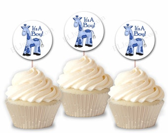 Baby Shower Giraffe Cupcake Toppers, Party Picks, Set of 12 Cake Toppers CT006