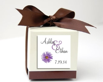 100 Lavender Purple Daisy Wedding Favor Stickers. Personalized printed square labels are 2 inches by 2 inches.