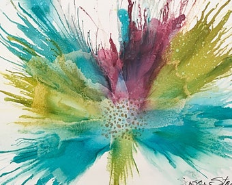 """Original Alcohol Ink """"Shoal"""" Abstract Flower Painting"""