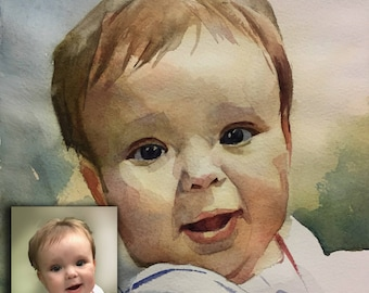 Custom portrait from photo, Custom watercolor portrait ,Only original watercolor Painting