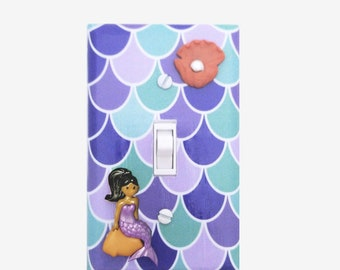 Mermaid bedroom decor light switch cover Girls nursery room Purple and Mint African American Latina