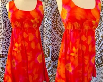 VTG 60s Neon Orange FLOWER POWER Go-Go Mod Party Mini Dress M/L