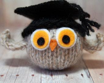 Graduation Owl - Knit Owl with Graduation Cap, Graduation Ornament - Toy Owl - Natural Fibers