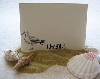 6 Handmade seagull blank thank you notecard set