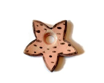 Beige ceramic pendant, large star pendant, clay glazed pendant, porcelain necklace pendant, black spots jewelry pendant, one of a kind