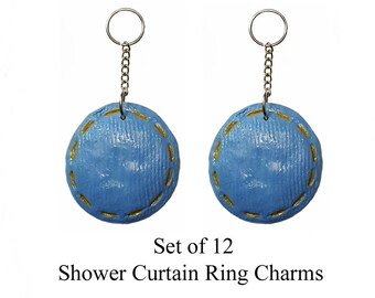Decorative Shower Curtain Ring Charms...Blue Jean Buttons...Set of 12 Custom made to order.