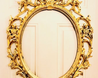 Gold Leafed Mirror Frame Barroque Style Vintage Distressed