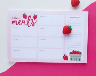 Weekly Meal Plan Note Pad | Strawberry Illustrated Menu Planner | Day Planner Notepad | Organizational Tools