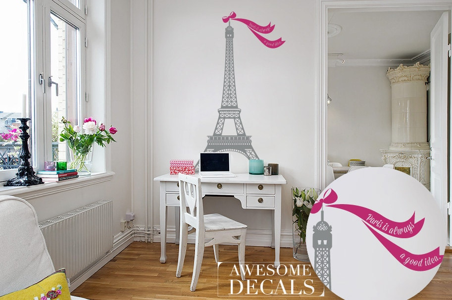 Eiffel Tower Decal Living Room Wall Decoration Custom
