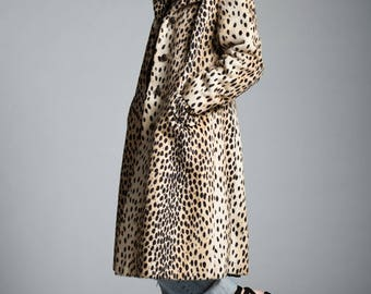 vintage 60s leopard faux fur coat winter coat MEDIUM LARGE M L