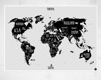 "A1 Poster ""World map"" black & white"