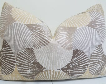 Cornsilk Outdoor pillow- Sunbrella fabric - Seashell indoor Outdoor Cushion- Sunbrella Pillow