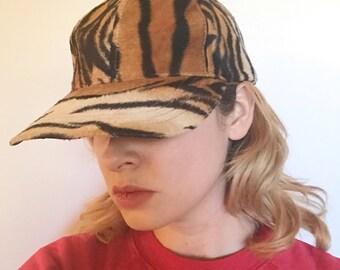 Vintage des années 90 Tiger fausse fourrure casquette de Baseball de Rad