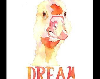 Dream Baby Duck - Art print of a baby duck with text 'DREAM'