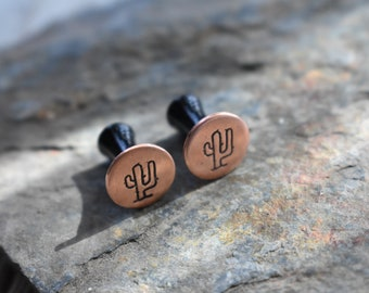 Cactus Earrings- Copper Metal Gauge Plugs Earrings - Choose Size Stretchers- Hammered Aluminum Disks on Black Plastic  2,4,6,0,00,1/2