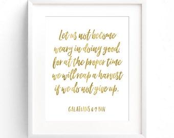 Galatians 6:9 Digital print, Scripture, Bible verse, Christian Print, Encouragement, Faith print, Gift print,  Handlettering, Gold Sparkle