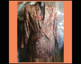1980's Brown Floral Rayon Double Breasted Blazer, fits like a medium