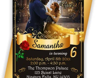 Beauty and the Beast, Party Invite, Belle Invitation, Belle Party Invite, Belle Invite -BIRINV120