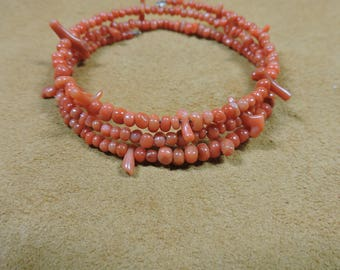 Coral Memory Wire Bracelet