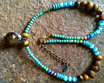 Boho Tigers Eye,Turquoise and Cats Eye Dolphin Necklace