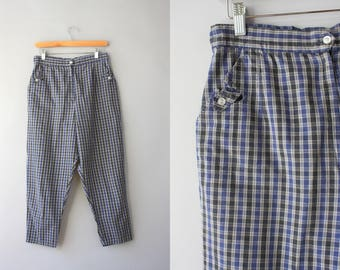 1950s Pants / Vintage 50s Plaid Cotton Cropped Pants / 1960s High Waist Clam Diggers M medium