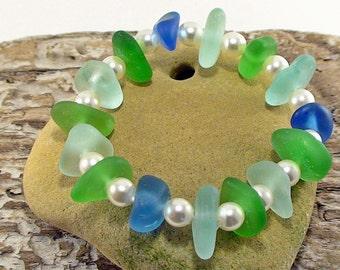 Beach Lovers Gift Natural Seaglass Bracelet Girlfriend Gift Beach Wedding Sea Glass Jewelry Stretch Bracelet Beach Glass Jewelry