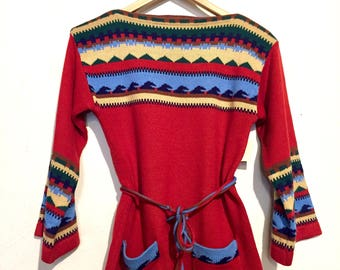 1960's Tie Waist Bell Sleeve Sweater with Pockets medium wt05723