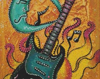 Modern Cross Stitch Kit,  'Celestrial Guitar',  Laura Barbosa, NeedleCraft Kit, Counted Cross Stitch
