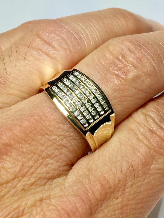 Sale 10k Solid Gold Men s Diamond ring Men s Pinky